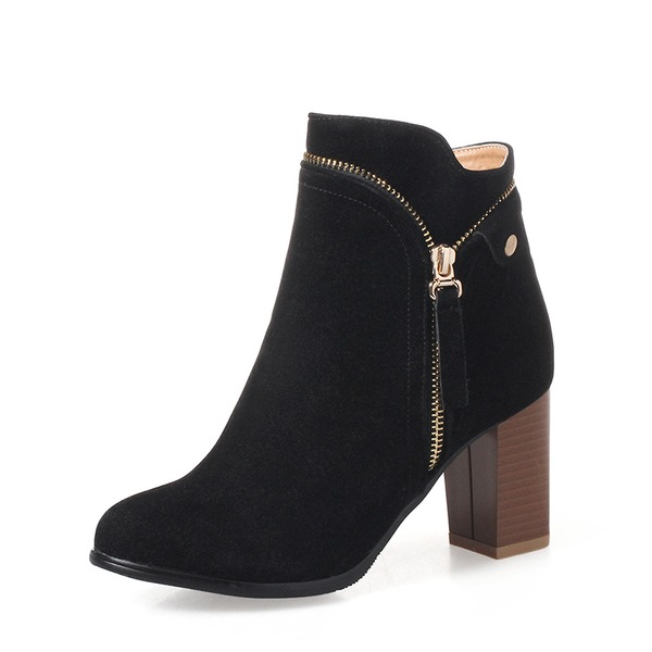 Donna Camoscio Tacco spesso Stiletto Stivali Stivali alla caviglia con Cerniera Catenina scarpe