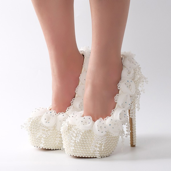 Women's Patent Leather Stiletto Heel Platform Pumps With Imitation Pearl Flower