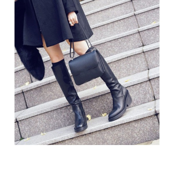 Women's PU Chunky Heel Pumps Platform Knee High Boots With Zipper shoes