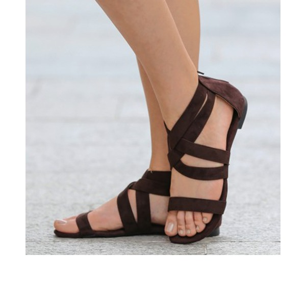 Women's Suede Flat Heel Sandals Flats Peep Toe With Others shoes