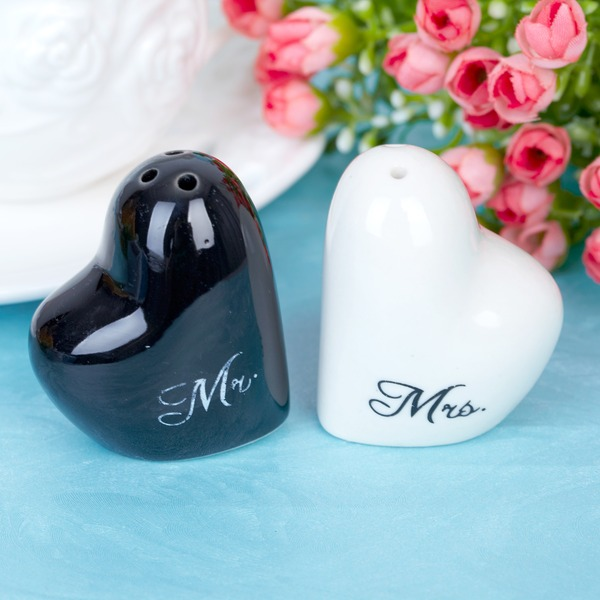 """Mr. & Mrs."" Heart Shaped Ceramic Salt & Pepper Shakers (Set of 2 pieces)"