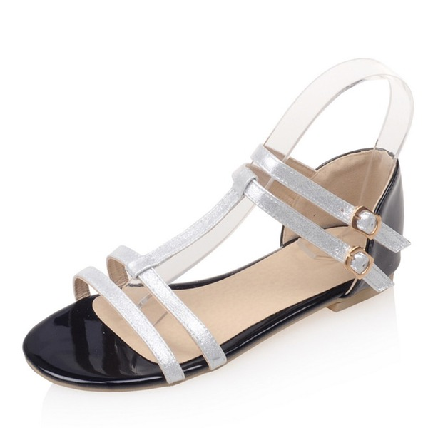 Women's Patent Leather Flat Heel Sandals Flats With Buckle shoes