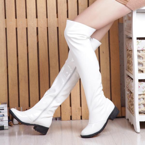 Frauen Lackleder Niederiger Absatz Geschlossene Zehe Stiefel Kniehocher Stiefel Stiefel über Knie Reitstiefel mit Reißverschluss Schuhe