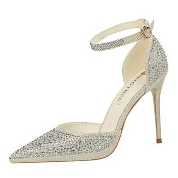 Women's PU Stiletto Heel Sandals Pumps Closed Toe With Rhinestone shoes