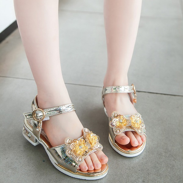 Girl's Peep Toe Leatherette Sandals Flats With Bowknot Velcro Crystal