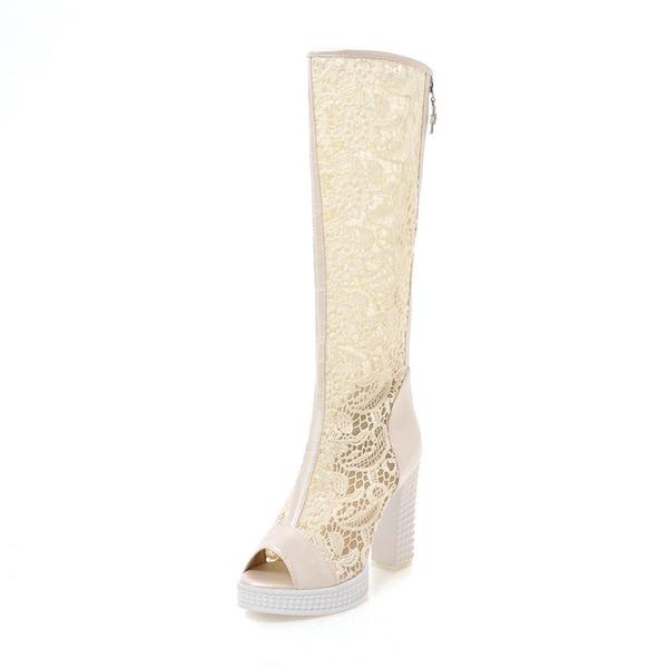 Mulheres Renda Salto robusto Sandálias Botas Bota no joelho com Zíper sapatos