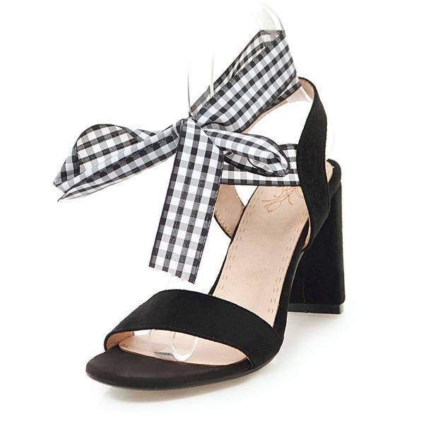 Naisten Mokkanahka Chunky heel Sandaalit Avokkaat jossa Nauhakenkä kengät