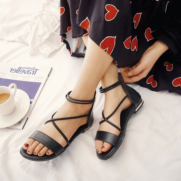 Women's Real Leather Flat Heel Sandals Flats Peep Toe Slingbacks With Lace-up shoes