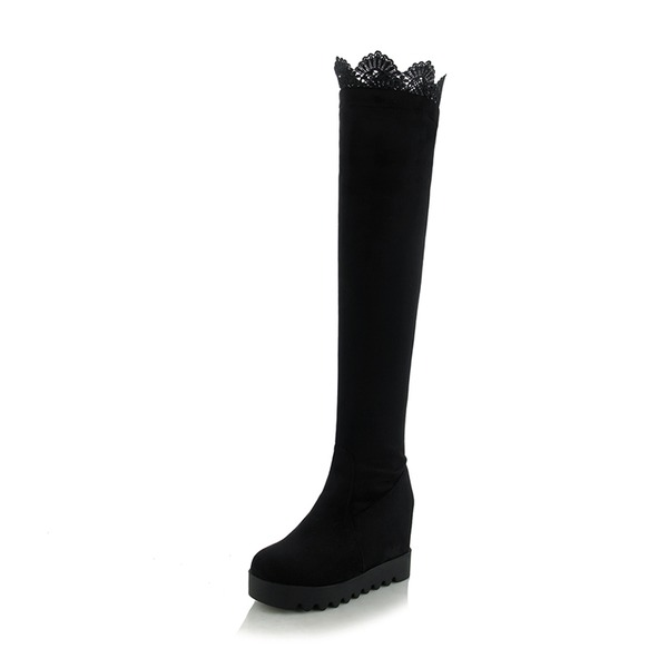 Women's Suede Lace Wedge Heel Boots Over The Knee Boots shoes
