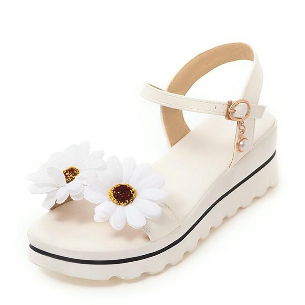 Kvinnor PU Kilklack Sandaler Kilar Peep Toe Slingbacks med Blomma skor