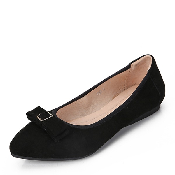 Women's Suede Flat Heel Flats Closed Toe With Bowknot shoes