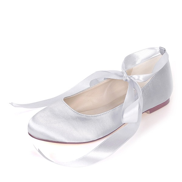 Kids' Silk Like Satin Flat Heel Closed Toe With Lace-up