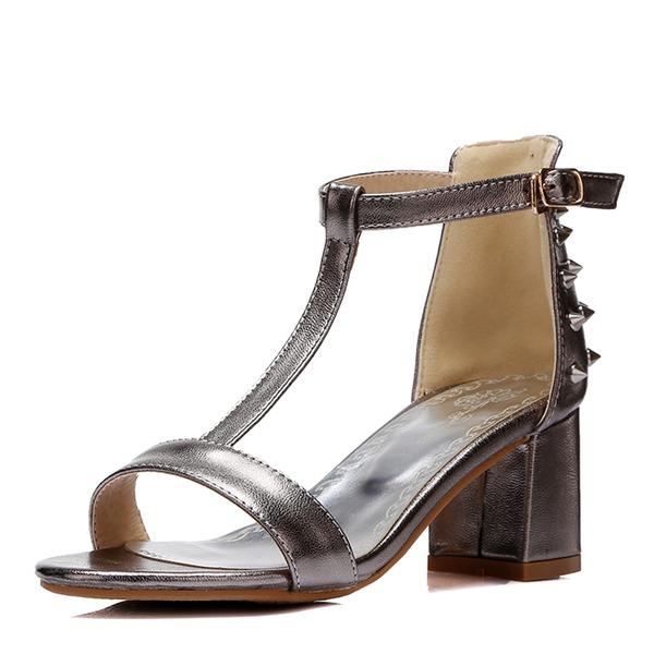Naisten Kiiltonahka Chunky heel Sandaalit Avokkaat jossa Niitti kengät