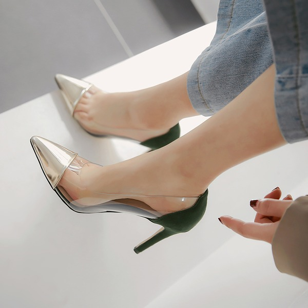 Women's Patent Leather Rubber Stiletto Heel Pumps أحذية