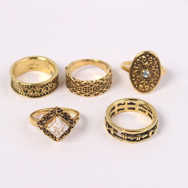 Fashional Alloy Rhinestones With Rhinestone Women's Fashion Rings (Set of 5)
