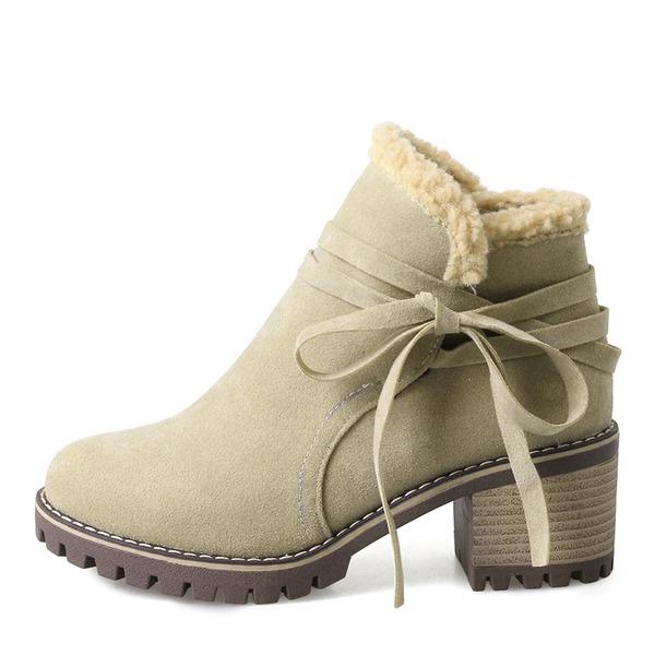 Frauen Veloursleder Stämmiger Absatz Absatzschuhe Stiefel Stiefelette Schneestiefel mit Zuschnüren Schuhe