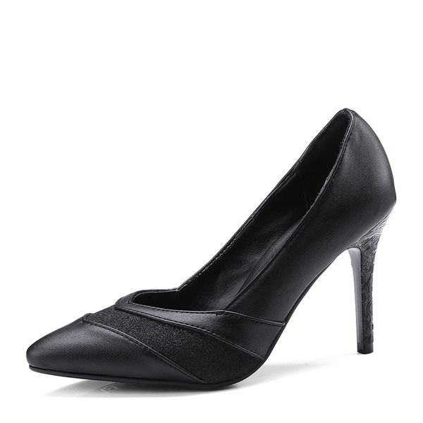 Women's Microfiber Leather Stiletto Heel Pumps Closed Toe shoes