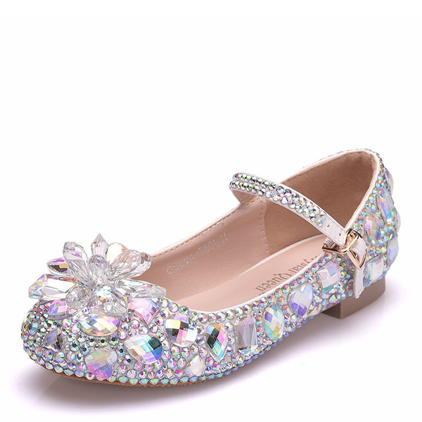 Girl's Ronde neus Closed Toe Mary Jane imitatieleer Flats met Gesp Kristal
