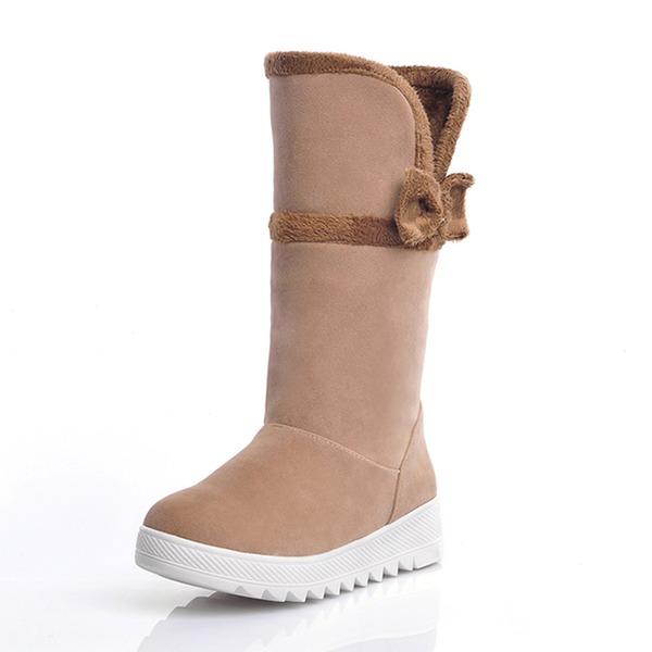 Mulheres Camurça Sem salto Botas com Bowknot sapatos