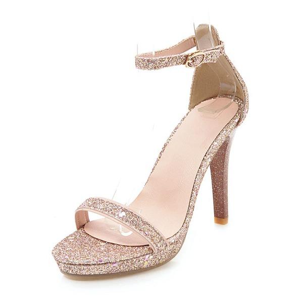 Kvinner Glitrende Glitter Stiletto Hæl Sandaler Pumps Platform Titte Tå med Spenne sko