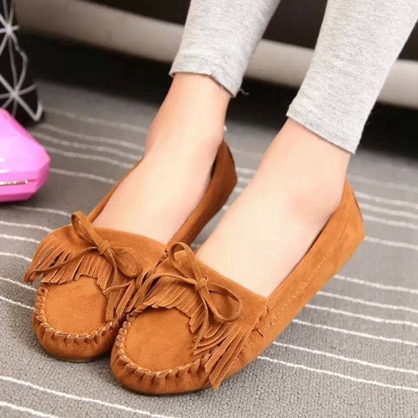 Women's Suede Flat Heel Flats Closed Toe With Bowknot Tassel shoes