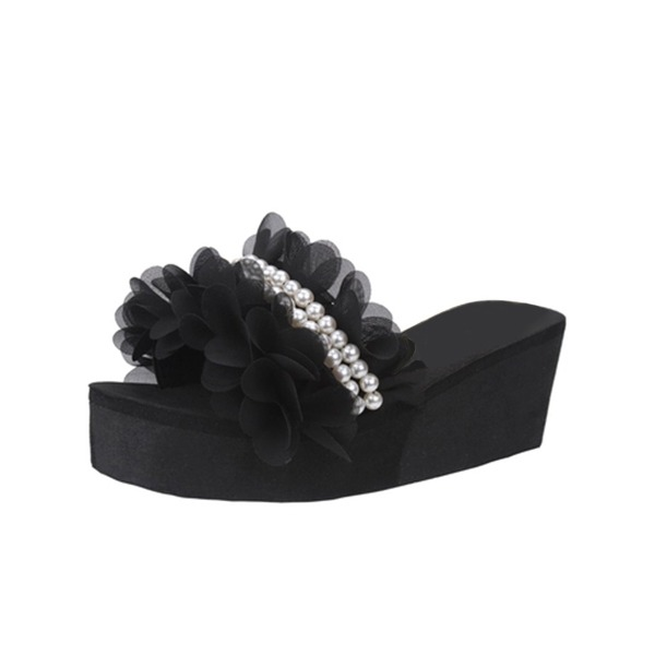 Women's Corn Bran Wedge Heel Wedges Slippers With Imitation Pearl Ruched shoes