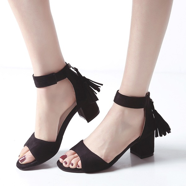 Women's Suede Chunky Heel Sandals Peep Toe With Zipper Tassel shoes