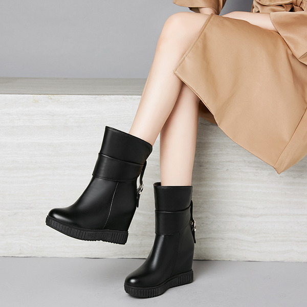 Suede Leatherette Wedge Heel Flats Pumps Wedges Slippers Over The Knee Boots With Buckle shoes