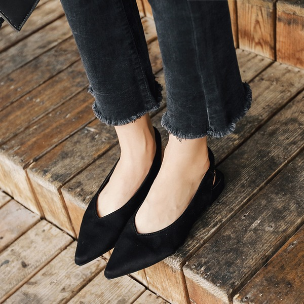 Women's Suede Flat Heel Flats Closed Toe Slingbacks With Elastic Band shoes