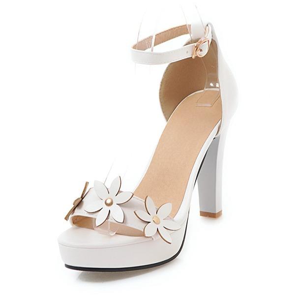 Mulheres Couro Salto robusto Sandálias Plataforma com Flor sapatos