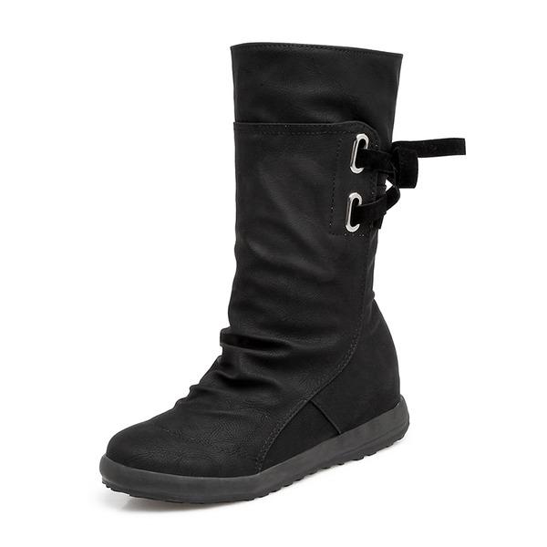Frauen Kunstleder Niederiger Absatz Geschlossene Zehe Stiefel Kniehocher Stiefel Stiefel-Wadenlang mit Zuschnüren Schuhe