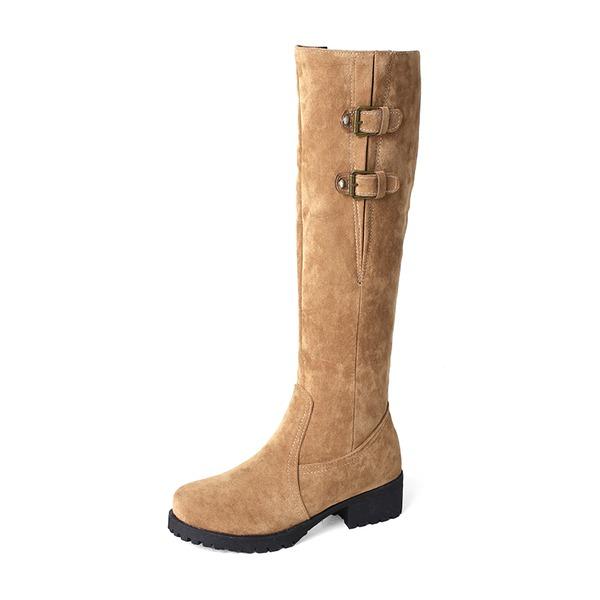 Donna Camoscio Tacco basso Punta chiusa Stivali Stivali al ginocchio con Fibbia Cerniera scarpe