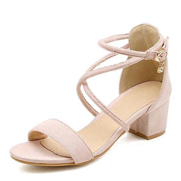 Mulheres Camurça Salto agulha Sandálias Bombas Peep toe com Fivela sapatos