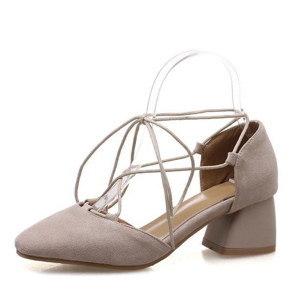 Vrouwen Suede Chunky Heel Sandalen Closed Toe met Vastrijgen schoenen
