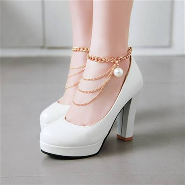 Women's Leatherette Chunky Heel Pumps Platform Closed Toe Mary Jane With Zipper shoes