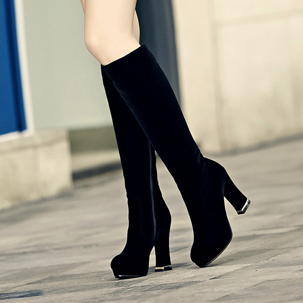 Women's Velvet Stiletto Heel Pumps Boots Knee High Boots With Others shoes