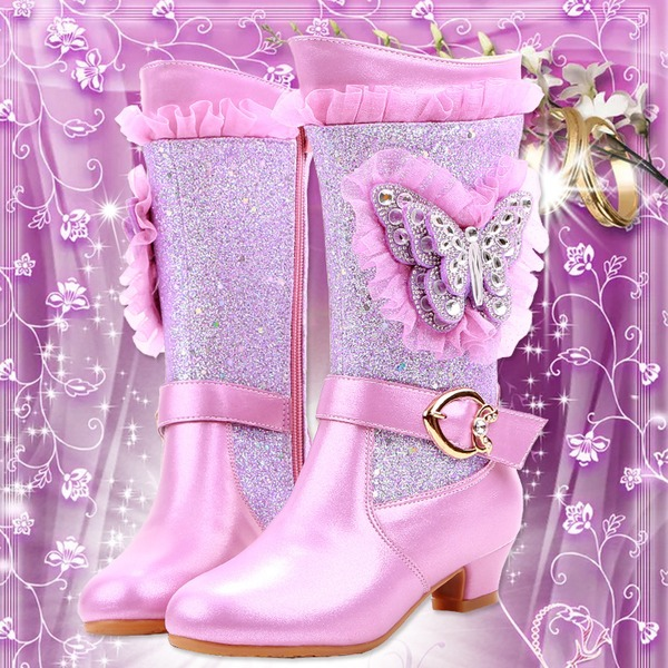 Girl's Closed Toe Microfiber Leather Low Heel Boots Flower Girl Shoes With Buckle Crystal