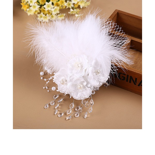 Dames Beau/Magnifique/Charmant/Mode/Spécial/Glamour/Style Classique/Élégante/Unique/Simple/Exquis Feather/Dentelle/De faux pearl/Strass avec Feather/Strass/De faux pearl Chapeaux de type fascinator