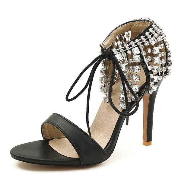 Donna Similpelle Tacco a spillo Sandalo Stiletto con Strass scarpe