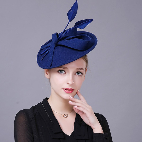 Ladies' Gorgeous/Elegant Wool With Feather Beret Hat