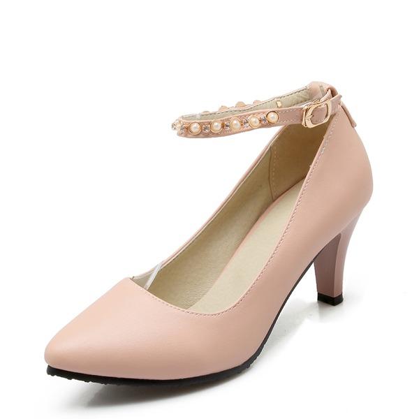 Donna Similpelle Tacco a spillo Stiletto Punta chiusa con Perline scarpe