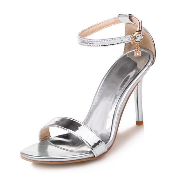 Naisten Kiiltonahka Piikkikorko Sandaalit Avokkaat jossa Tekojalokivi Solki kengät