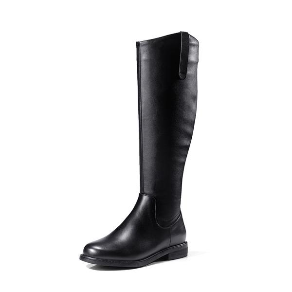 Kvinnor Äkta läder Låg Klack Stövlar Knäkickkängor med Nita Zipper skor