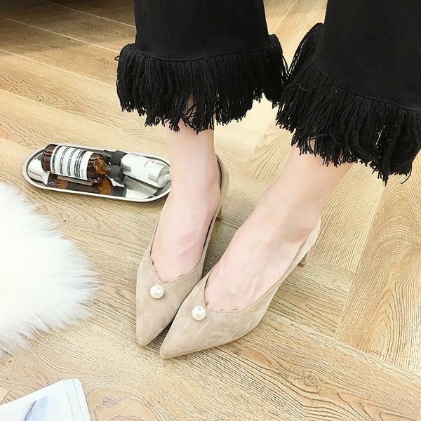 Women's Suede Chunky Heel Pumps Closed Toe With Imitation Pearl shoes