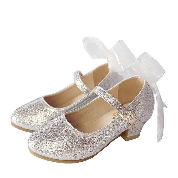 Girl's Round Toe Closed Toe Leatherette Low Heel Flats Flower Girl Shoes With Lace-up Crystal