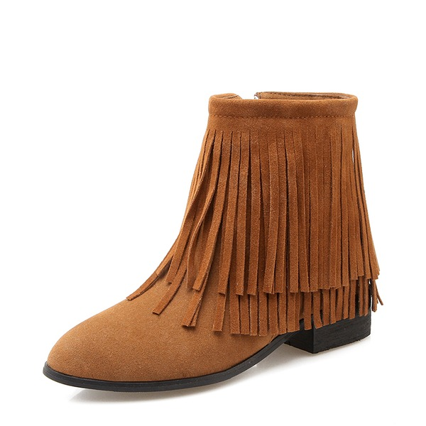 Kvinnor Mocka Låg Klack Stövlar Boots med Zipper Tofs skor