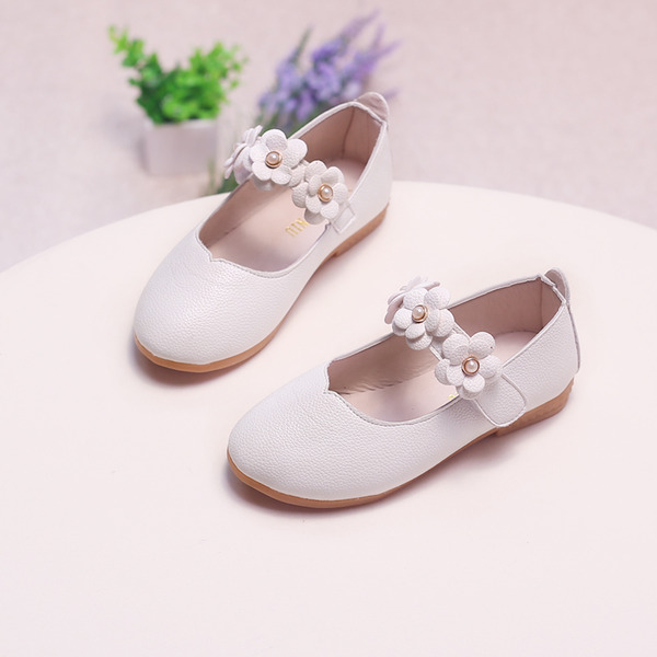 Girl's Leatherette Flat Heel Closed Toe Flats With Velcro Flower