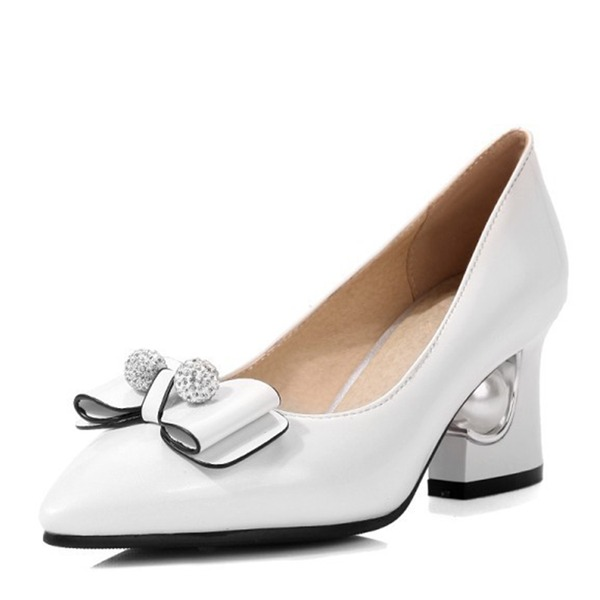 Vrouwen Kunstleer Low Heel Laarzen Closed Toe Pumps met strik Parel
