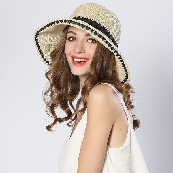 Ladies ' Enkle/Fancy Raffia Stråhat/Strand / Sun Hatte