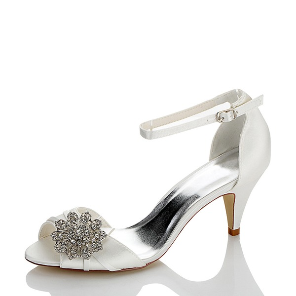 Women's Satin Silk Like Satin Cone Heel Peep Toe With Rhinestone